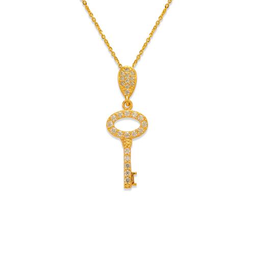 263-003 Fancy Key CZ Pendant