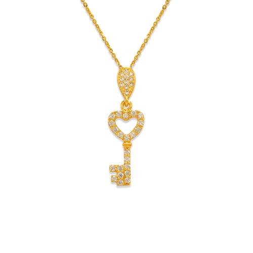 263-004 Fancy Heart Key CZ Pendant