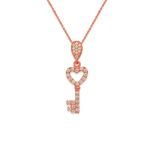 263-004R Fancy Rose Heart Key CZ Pendant