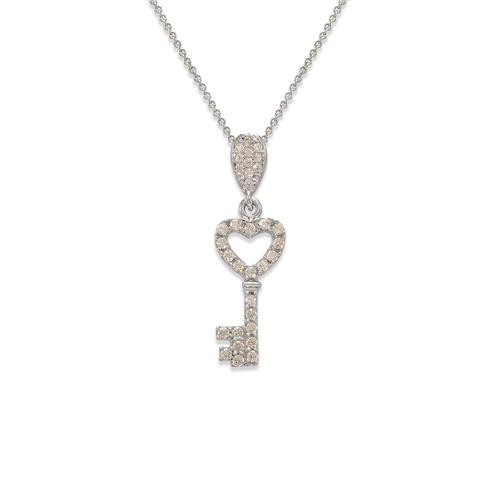 263-004W Fancy Heart Key CZ Pendant