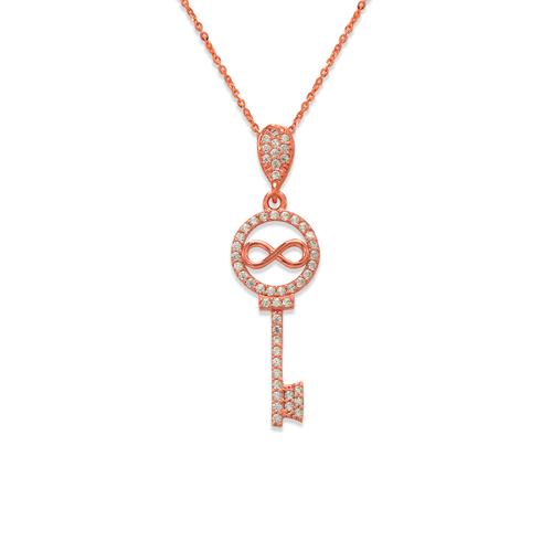 263-005R Fancy Rose Infiniti Key CZ Pendant