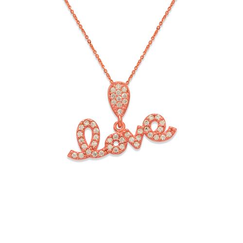 263-006R Fancy Rose Love CZ Pendant
