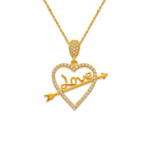 263-007 Fancy Heart with Love Arrow CZ Pendant