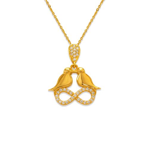 263-011 Fancy Infinity Doves CZ Pendant