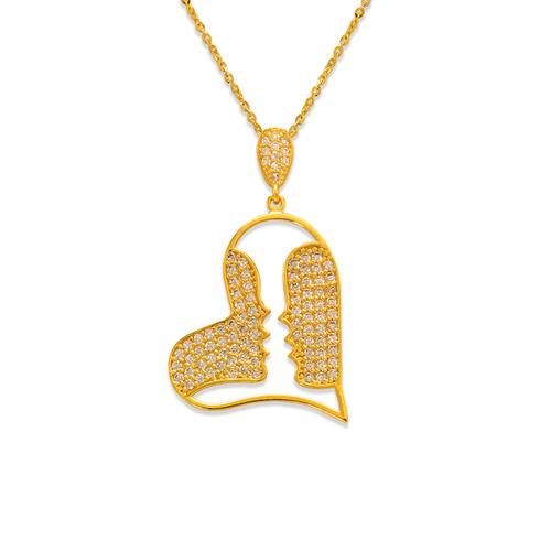 263-013 Fancy Heart with Kiss CZ Pendant