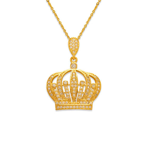 263-023 Fancy Crown CZ Pendant