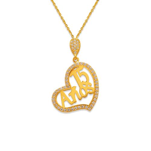 263-041 Fancy 15 Anos Heart CZ Pendant
