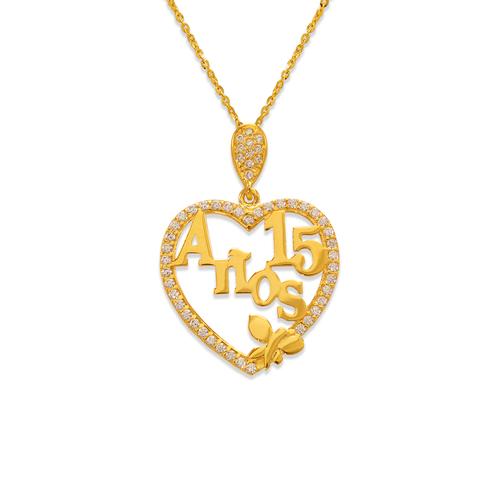 263-042 Fancy 15 Anos Heart CZ Pendant