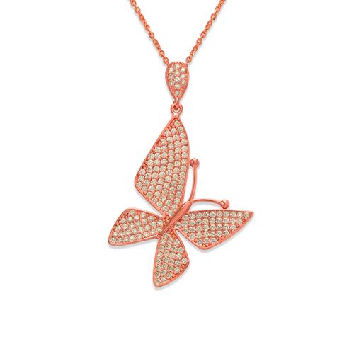 263-062R Fancy Rose Butterfly CZ Pendant
