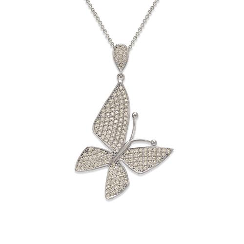 263-062W Fancy Butterfly CZ Pendant