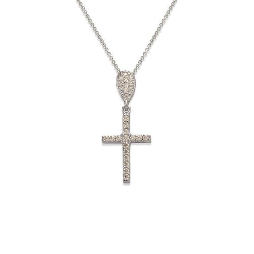263-101W Fancy Cross CZ Pendant