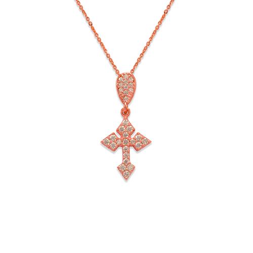 263-103R Fancy Rose Cross CZ Pendant