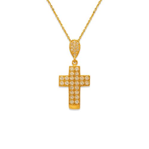 263-104 Fancy Cross CZ Pendant