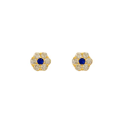 343-209BL Blue Flower CZ Stud Earrings