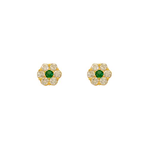 343-209GR Green Flower CZ Stud Earrings