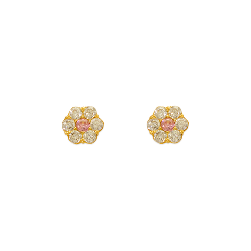 343-209PK Pink Flower CZ Stud Earrings