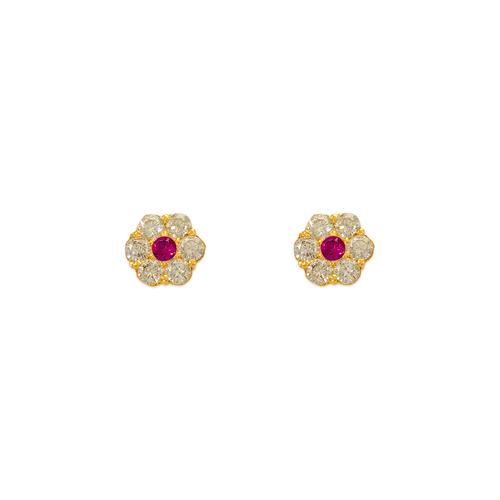 343-209RD Red Flower CZ Stud Earrings