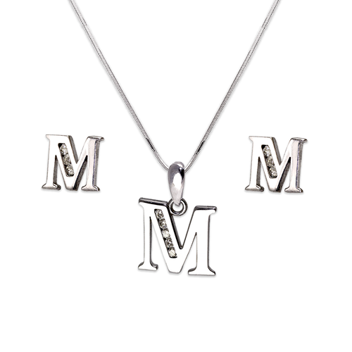 """583-101WMS Initial """"M"""" White Collection Set"""