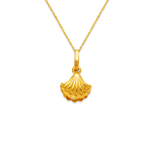 166-076 3mm Clam with Pearl Charm Pendant