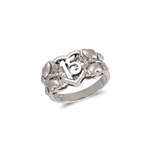 483-114W Ladies Fancy White 15 Anos Butterfly CZ Ring