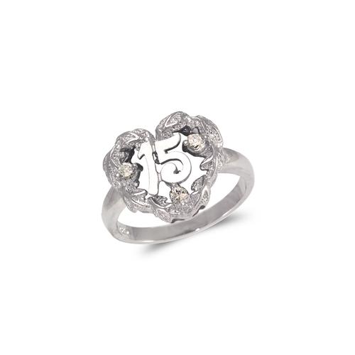 483-118W Ladies Fancy White 15 Anos CZ Ring