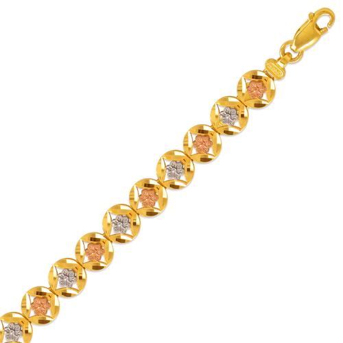 522-152T Ladies Faced Diamond Cut Tricolor Bracelet