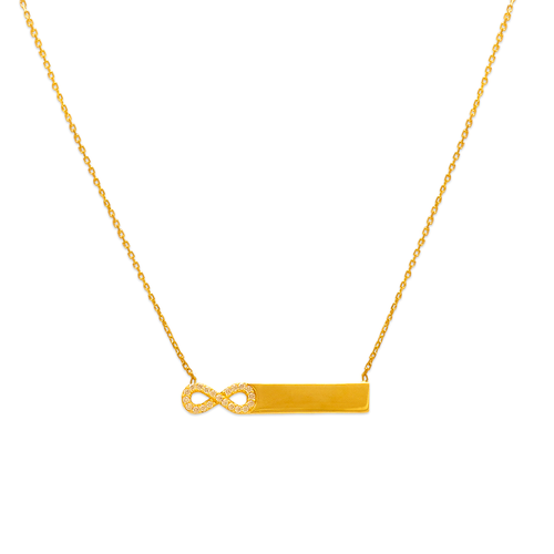 253-013 Fancy Plain Bar and Infinity Necklace