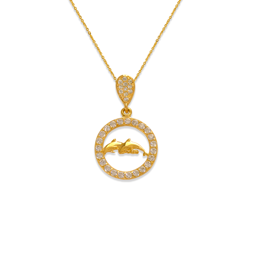 263-073 Fancy Dolphins in Circle CZ Pendant