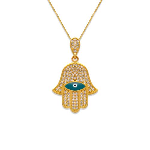 263-154 Fancy Hand of Fatima Evil Eye CZ Pendant