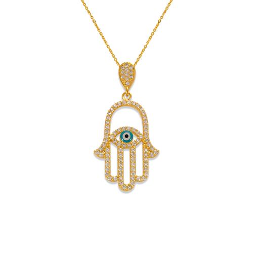 263-153 Fancy Hand of Fatima Evil Eye CZ Pendant
