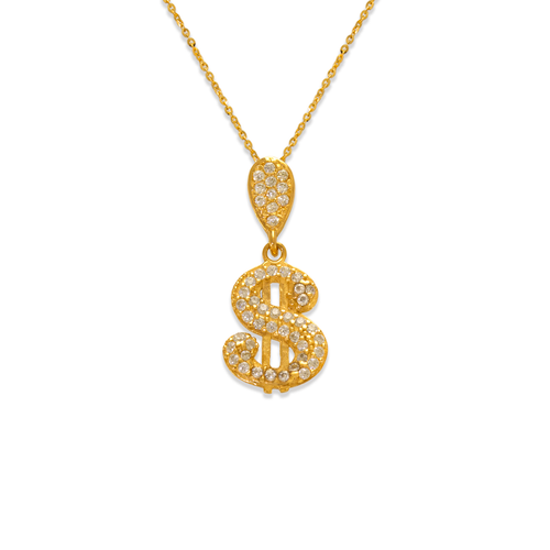 263-213 Fancy Dollar Sign CZ Pendant