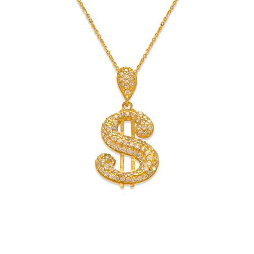 263-214 Fancy Dollar Sign CZ Pendant