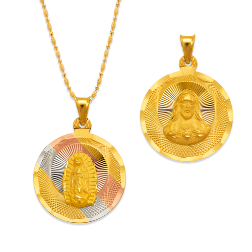 362-931T-023 Round Guadalupe/Sacred Heart Two-Sided Scapular Pendant