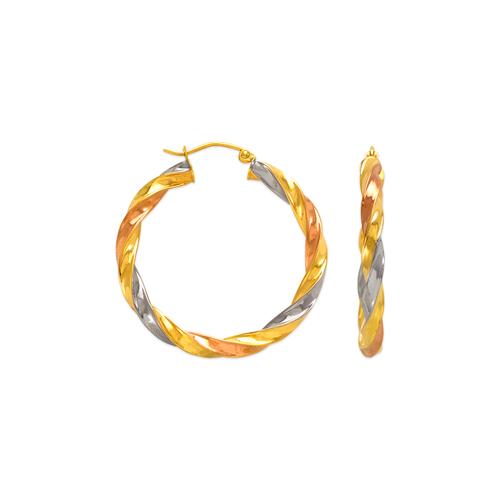 546-891TS 4mm Square Twist Hoop Earrings
