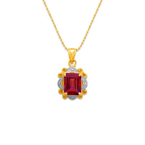 565-010B Mystic Ruby CZ Pendant