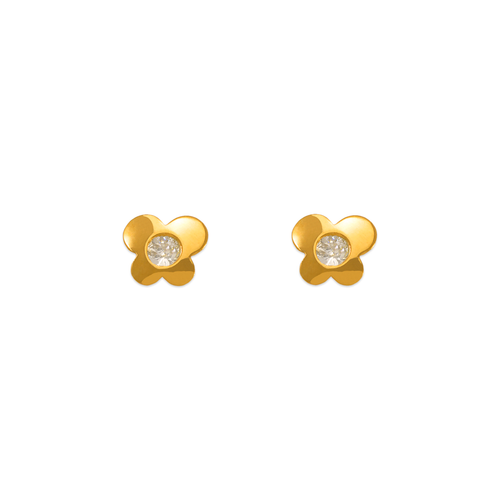 343-423WH White High Polished Butterfly CZ Stud Earrings