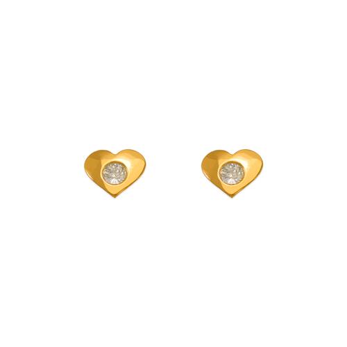 343-424WH White High Polished Heart CZ Stud Earrings