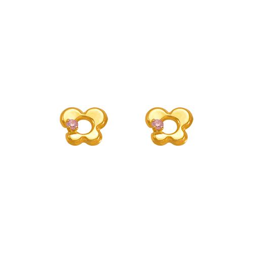 343-428PK Pink Butterfly CZ Stud Earrings
