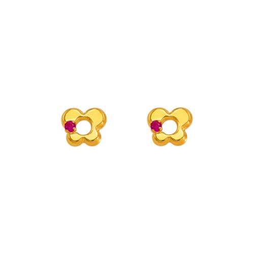 343-428RD Red Butterfly CZ Stud Earrings