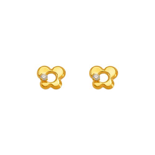 343-428WH White Butterfly CZ Stud Earrings