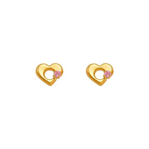 343-429PK Pink Heart CZ Stud Earrings