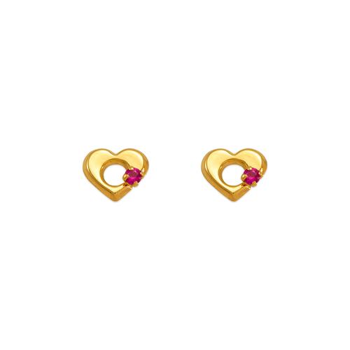 343-429RD Red Heart CZ Stud Earrings