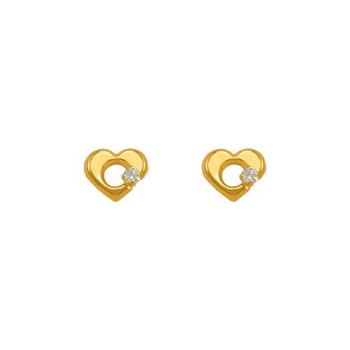 343-429WH White Heart CZ Stud Earrings
