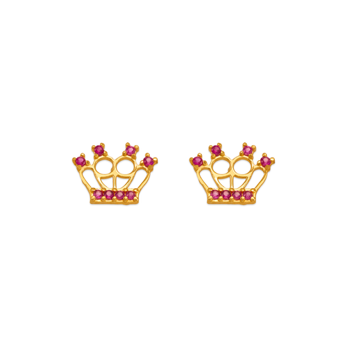 343-241RD Red Tiara CZ Stud Earrings