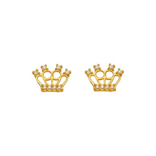 343-241WH White Tiara CZ Stud Earrings