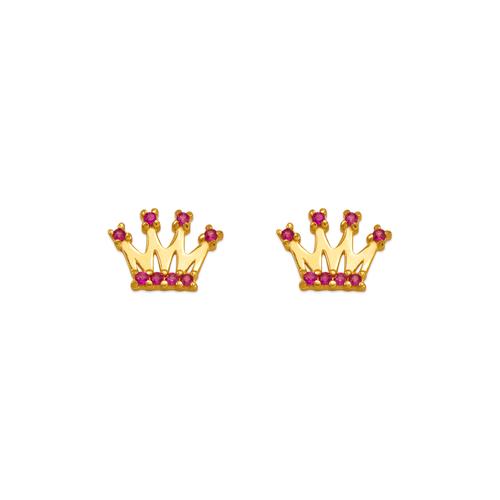 343-242RD Red Tiara CZ Stud Earrings