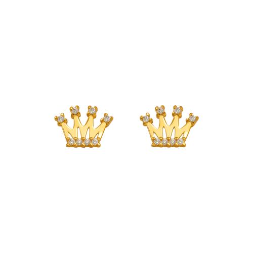 343-242WH White Tiara CZ Stud Earrings