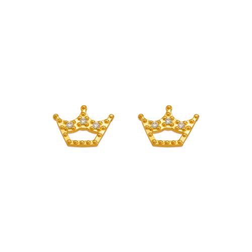 343-243WH White Tiara CZ Stud Earrings