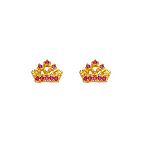 343-244RD Red Tiara CZ Stud Earrings