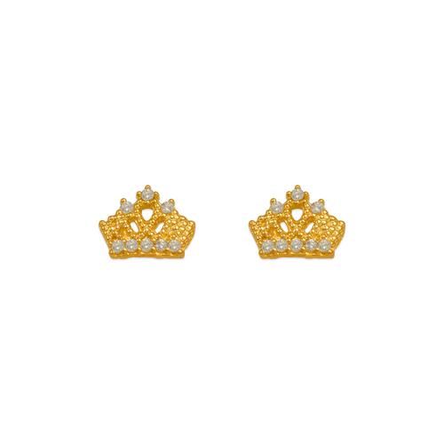 343-244WH White Tiara CZ Stud Earrings